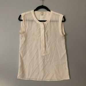 JCrew Concealed Button Sleeveles Popover Blouse; 0